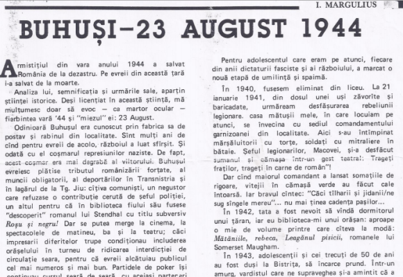 Societatea buhușeană din perioada celui de Al Doilea Război Mondial, prin ochii unui localnic evreu